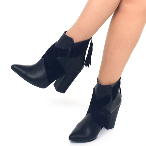 Mio Gusto Mio Gusto - Siyah Deri Bilekte Kadın Topuklu Bot