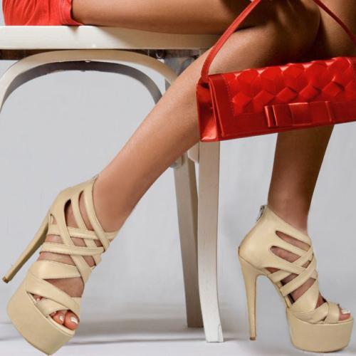 İnce Topuk Bej Platform Ayakkabı