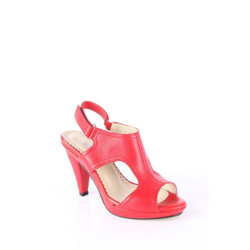 Gön 25577 Kırmızı Antik Deri Kadın Sandalet