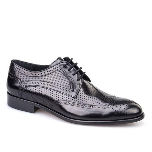 Cabani Lazerli Klasik Erkek Ayakkabı Siyah Açma Deri