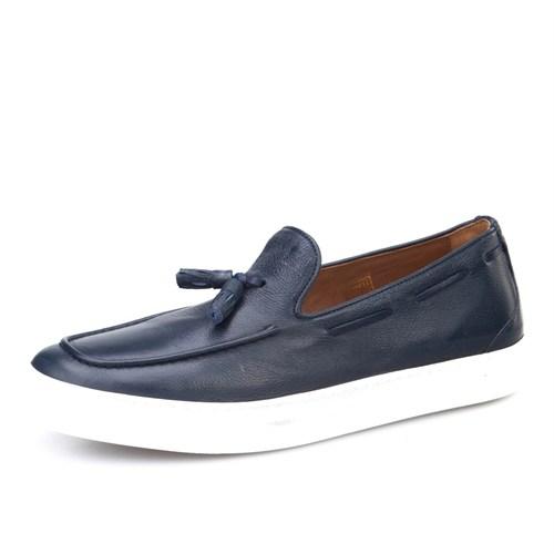 Cabani Püsküllü Sneaker Erkek Ayakkabı Lacivert Kırma Deri