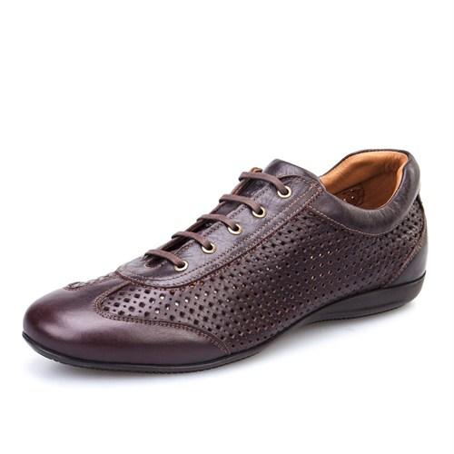 Cabani Lazerli Günlük Erkek Ayakkabı Kahverengi Nata Deri