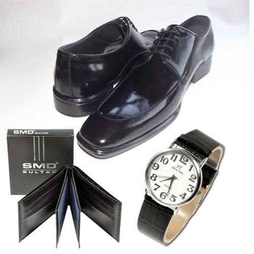 Klasik Erkek Kundura Ayakkabı + Cüzdan + Kol Saati