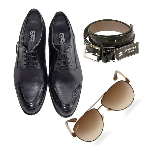Siyah Klasik Erkek Ayakkabısı + Kemer + Gözlük