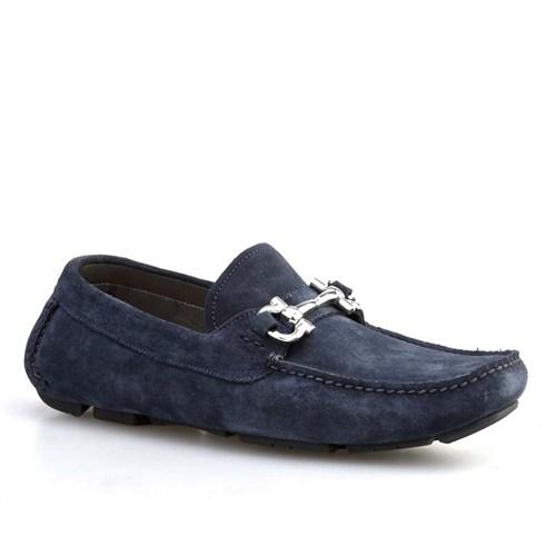 Cabani Yılan Baskı Günlük Erkek Ayakkabı Lacivert Süet