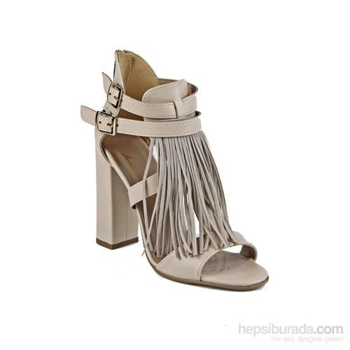 İnce Topuk Kadın Topuklu Ayakkabı Bej