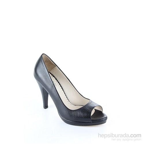 Gön 22295 Siyah Deri Kadın Ayakkabı