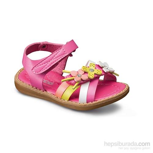 Vicco Cırtlı Çiçekli Kız Sandalet Fuşya