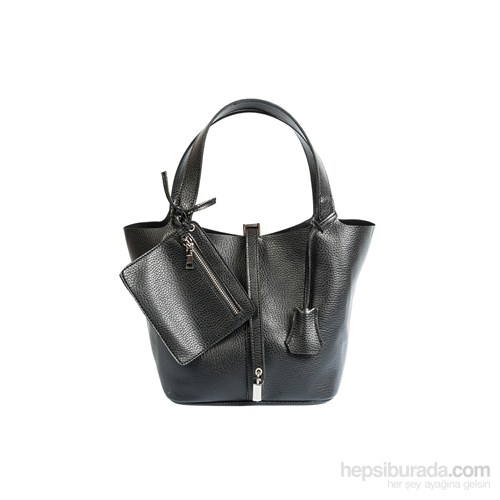 İroni So Kelly Model Kilitli Ekstra Cüzdanlı Siyah Çanta
