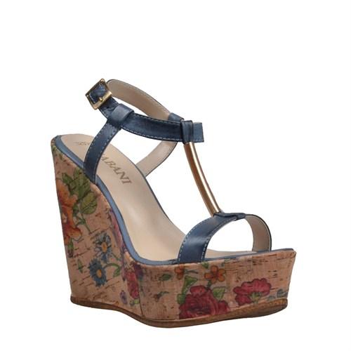 Cabani Topuklu Günlük Kadın Ayakkabı Mavi Deri