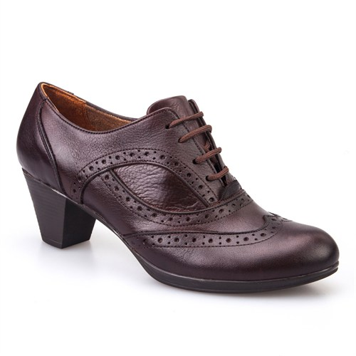 Cabani Kısa Topuklu Günlük Kadın Ayakkabı Kahve Deri