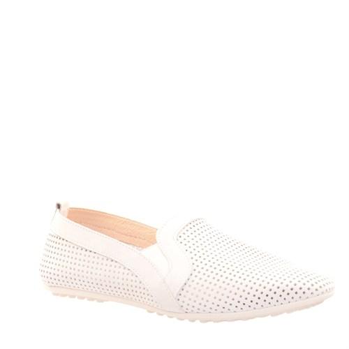 Cabani Lazerli Günlük Kadın Ayakkabı Beyaz Deri