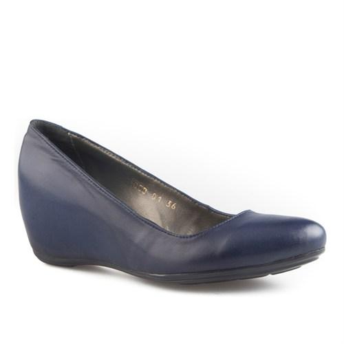 Cabani Dolgu Topuklu Günlük Kadın Ayakkabı Lacivert Soft Deri