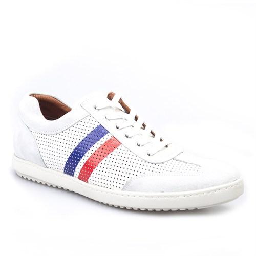 Cabani Bağcıklı Spor Günlük Erkek Ayakkabı Beyaz Deri