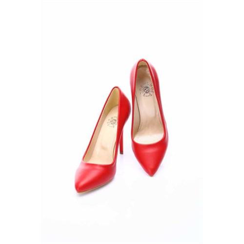 Shoes&Moda Kırmızı Cilt Kadın Stiletto Ayakkabı 509 6 Nz015t94