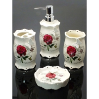 Kitchen Love Porselen Kelebekli 4 Parça Banyo Seti