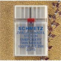 Schmetz Çift Uclu Nakış İğnesi 3 mm İğne Aralığı Tekli Paket