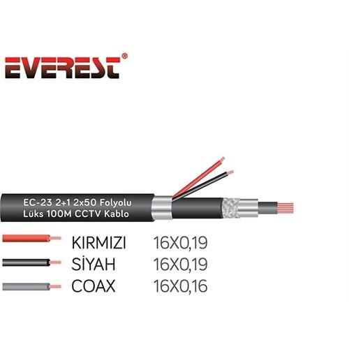 Everest EC-23 2+1 2x50 Folyolu Lüks 100M CCTV Kablo