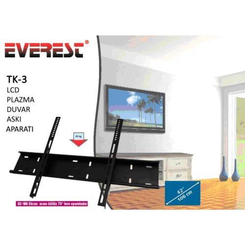 Everest TK-3 42'' Lcd & Plazma Duvar Askı Aparatı Kiti + S-Link Ekran Temizleme Seti Hediyeli