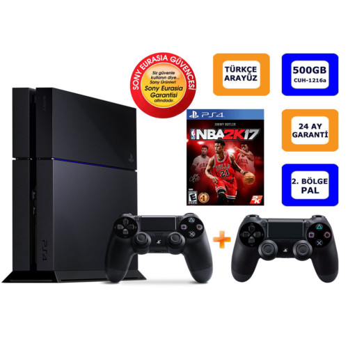 Sony Ps4 500Gb + Nba 2K17 + 2. Kol (Cuh-1216A) Eurasıa