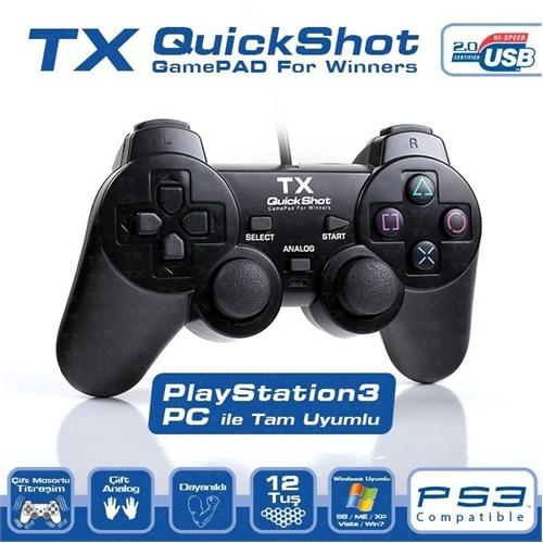 TX QuickShot PC/PS3 Uyumlu Çift Analog, Dualshock,12 Tuşlu Analog/Dijital USB Gamepad