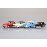 Welly Cehvrolet Bel Air - Ford Crestliner - Peugeot 504 - Cadillac Eldorado 4'lü Set