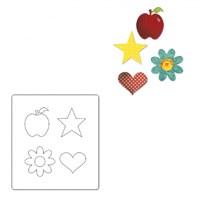 Sizzix Elma Çiçek Kalp Yıldız Kalıbı - 1A10598