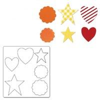 Sizzix Kalp Yıldız Süslü Yuvarlak Kalıbı - 1A11024