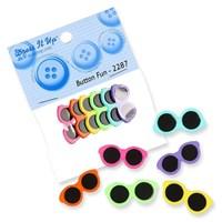 Kartopu Renkli Gözlük Dekoratif Düğme - 2287
