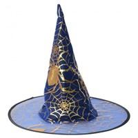 Pandoli Örümcek Desenli Cadı Şapkası Mavi Renk