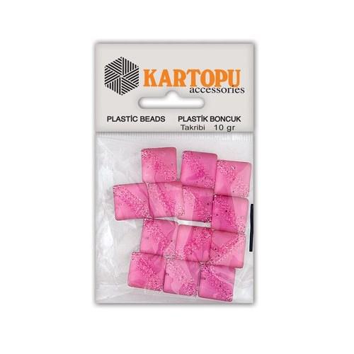 Kartopu Pembe Kare Resin Taşı Dikilebilen Plastik Boncuk - Rt2