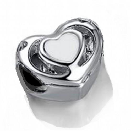 Angemiel Beyaz Kalp Gümüş Kaplama Charm İle Kendi Tarzını Yarat