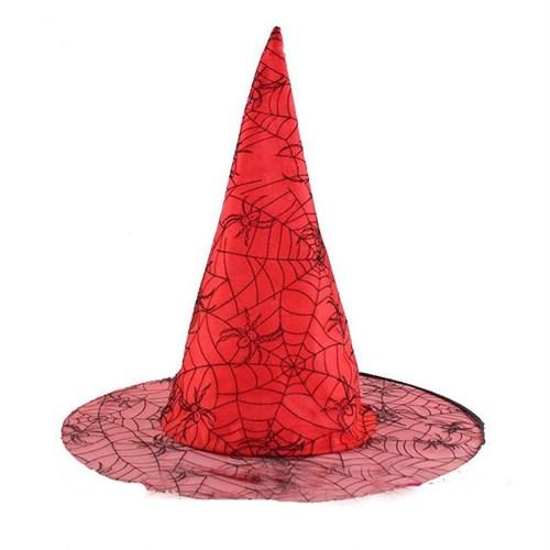 Pandoli Örümcek Desenli Cadı Şapkası Pembe Renk