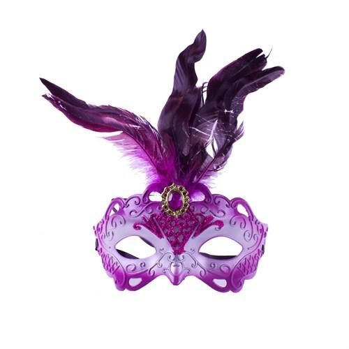 KullanAtMarket Fuşya Tüylü Balo Maskesi 1 Adet