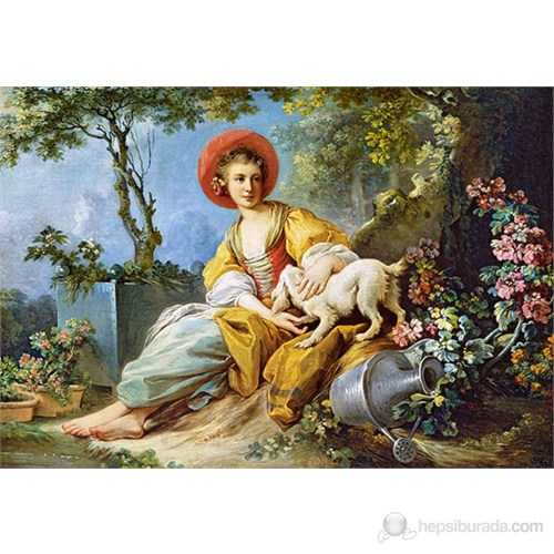 Castorland 1500 Parça A Young Woman Seated With A Dog