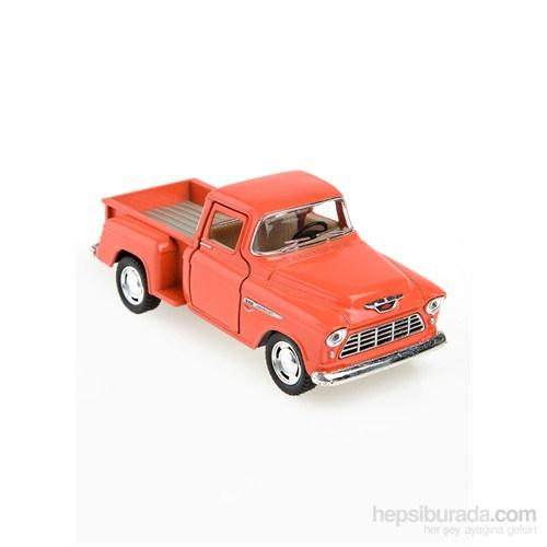 Kinsmart 1955 Chevy Stepside Pick-Up Çek Bırak 1/32 Die Cast Model Araç Turuncu