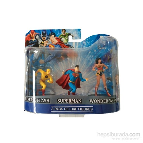 Dc Comics Superman Flash Wonder Woman 3'Lü Figür Seti