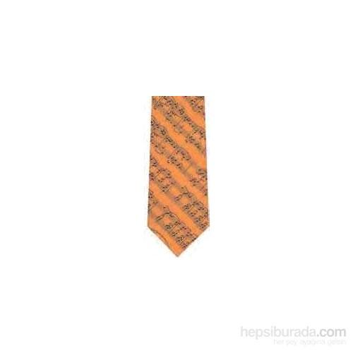 Notalı Turuncu Polyester Kravat