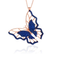 Azuris Mavisi Kelebek Kolye