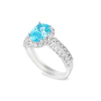 Chavin 3 carat Aqua Marin CZ Taşlı 2 'li Gümüş Yüzük cs23