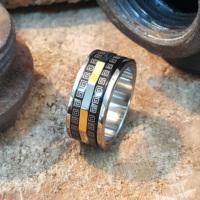 Chavin Greek Design Unisex Çelik Yüzük ad81