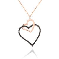 Chavin Komple Siyah Zirkon Taşlı Kalp Gümüş Kolye cs09