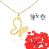 Chavin Kelebek Bayan Altın Kolye ve Gül Yaprakları dc38