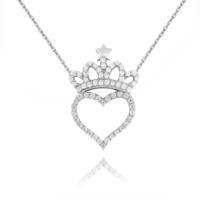 Chavin Kalp ve Kraliçe Tacı Taşlı Gümüş Bayan Kolye cu81