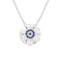Chavin Sedefli Çiçek Nazar Gümüş Kadın Kolye cp58