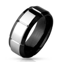 Chavin Kenarları Siyah Ortası Gri Erkek Çelik Yüzük dc49