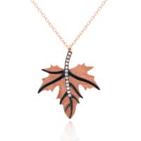 Rose Çınar Yaprağı, Yaprak Gümüş Bayan Kolye dd84