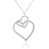 Chavin Komple Zirkon Taşlı Çiftli Kalp Gümüş Kolye cd08