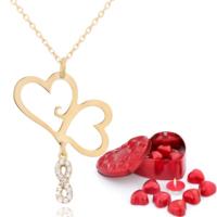 Chavin Aşık Kalpler, Bayan Sonsuzluk Altın Kolye Çikolatalar de48