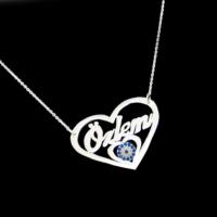 Chavin İsminize Özel Kalp İçinde Nazar Boncuğu Gümüş ce97slv